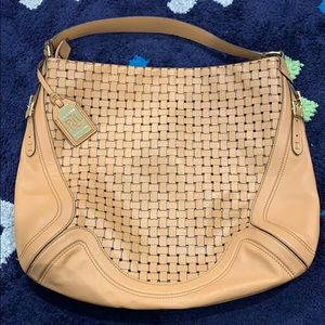 EUC RLL weave leather satchel
